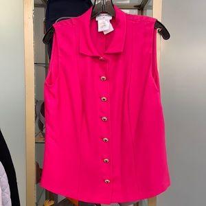 Chanel Hot Pink Button Up Short Sleeve Vest Silk